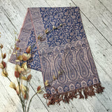 Indian Pashmina Shawl - Blueberry & Pink Paisley