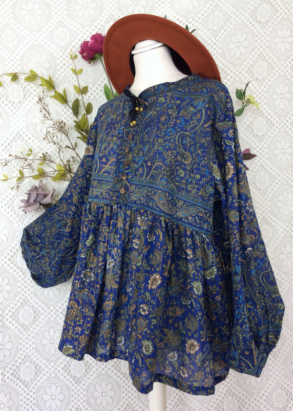 Florence Gypsy Smock Top - Blueberry & Sage Paisley Floral Copper Sparkly Thread (S/M)
