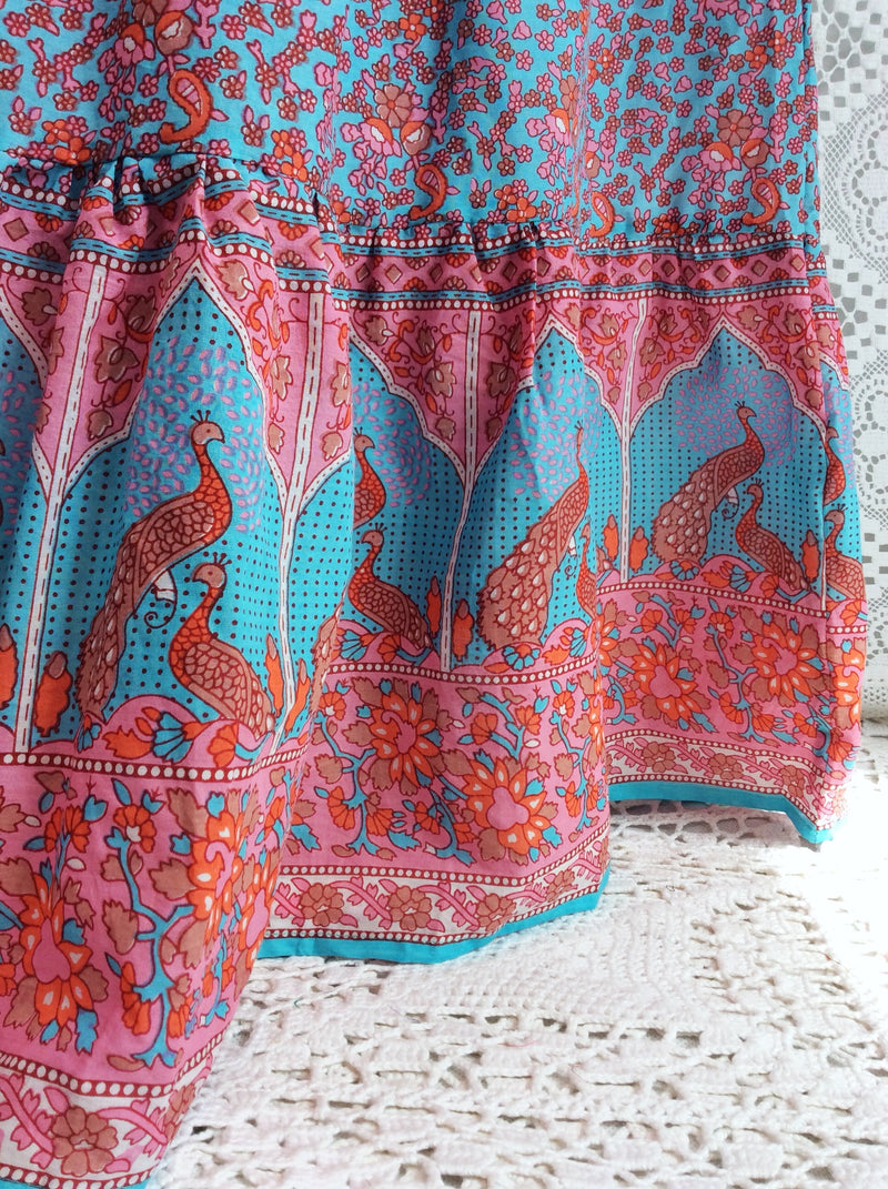 hand made skirts-Aqua Coral Pink Peacock Indian Cotton Floral Maxi Skirt (Free Size)-vintage clothing brighton-worldwide delivery