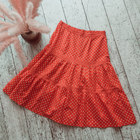 Vintage Midi Skirt - Red Polka Dot - Size S