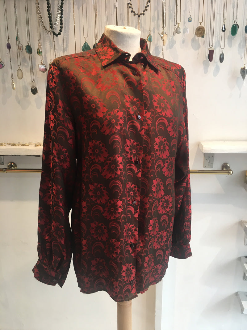 Vintage Blouse - Brown & Red Silky Floral - Free size