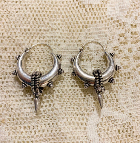 Medium Silver Plated Brass Hoop Earrings with Spike