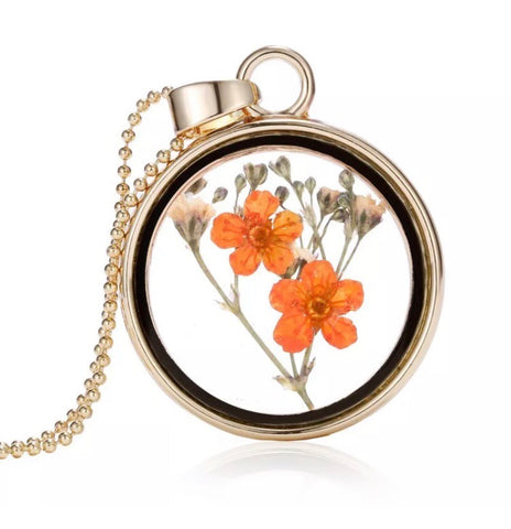 Boho dried flower pendant necklace - Orange / Cream