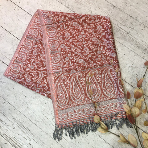 Indian Pashmina Shawl - Cream & Rust Paisley