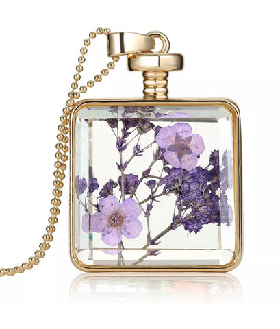 Boho dried flower square pendant necklace - lilac