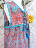 Aqua Blue/Pink/Coral Peacock Sleeveless Midi Smock Dress - Size S/M