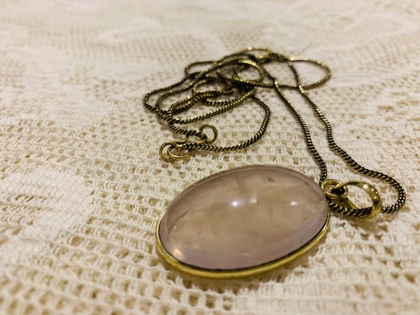Bohemian Long Light Pink Rose Quartz Necklace