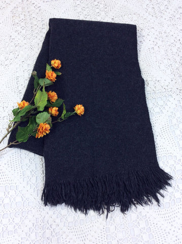 Dark Charcoal Grey Wool Shawl/Blanket/Scarf