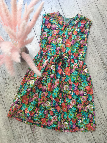 Vibrant Watercolour Floral Retro Day Dress - Size S/M