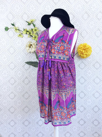 SALE - Purple / Blue Peacock Sleeveless Cotton Top / Mini Smock Dress - Size M/L