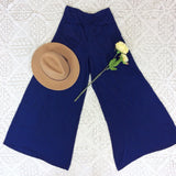 Block Colour Wide Flares with Pockets - Midnight Navy Blue Silk Mix - M/L