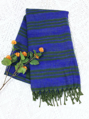 Khaki & Blue Iris Striped Indian Shawl/Blanket