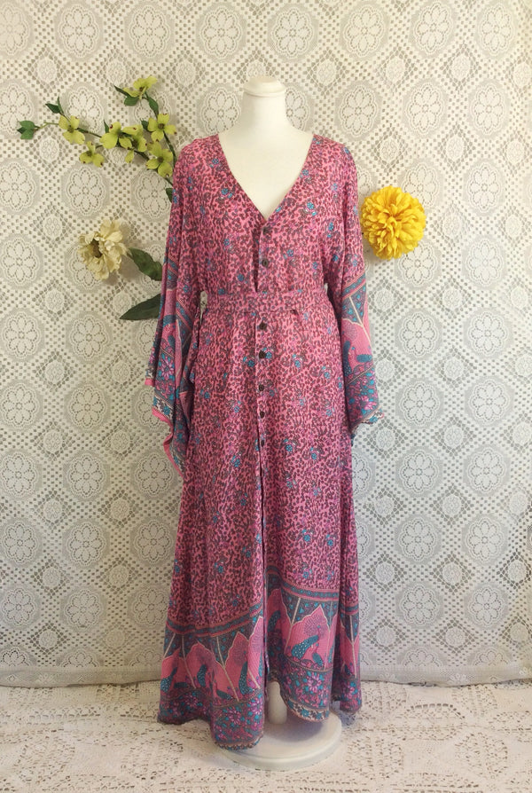 SALE Pink Blue Grey Peacock Floral Maxi Button Down Dress/Kimono Size S/M