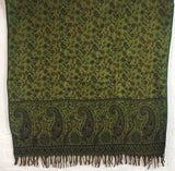 Midnight Blue & Green Reversible Paisley Indian Shawl/Blanket