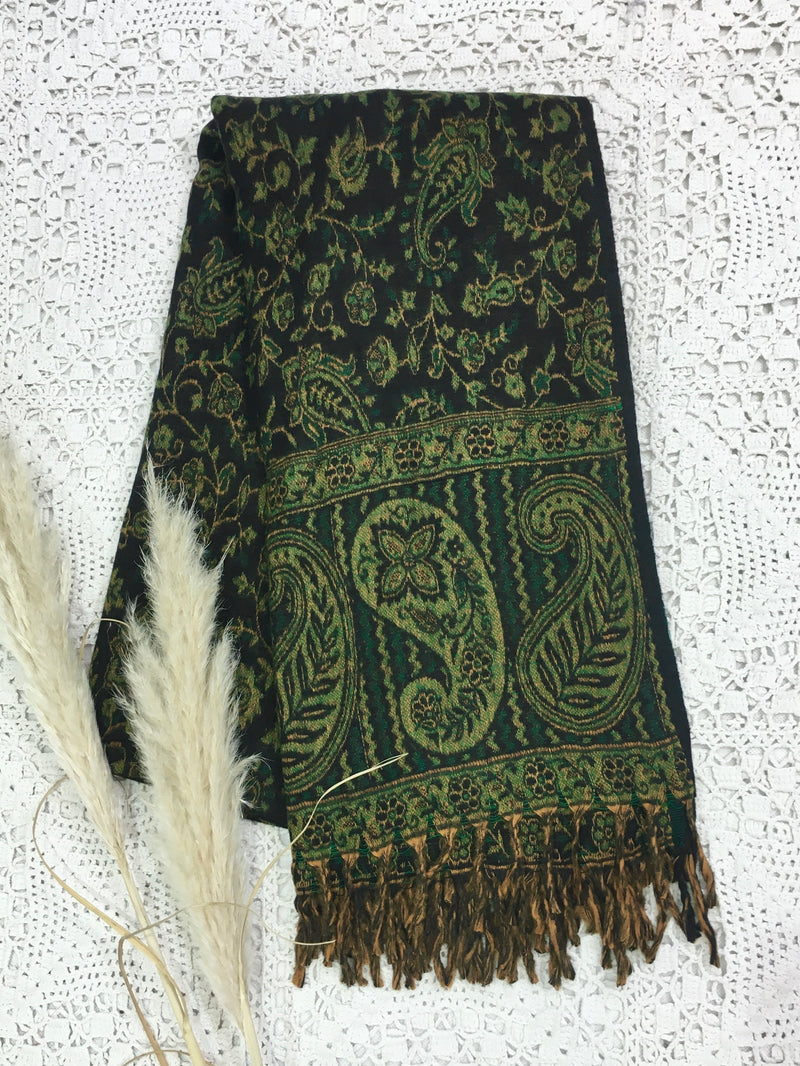 Midnight & Emerald Reversible Striped Paisley Indian Shawl/Blanket