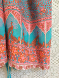 SALE - Indian Peacock Drawstring Wide Leg Jumpsuit - Aqua Pink Orange - Size S