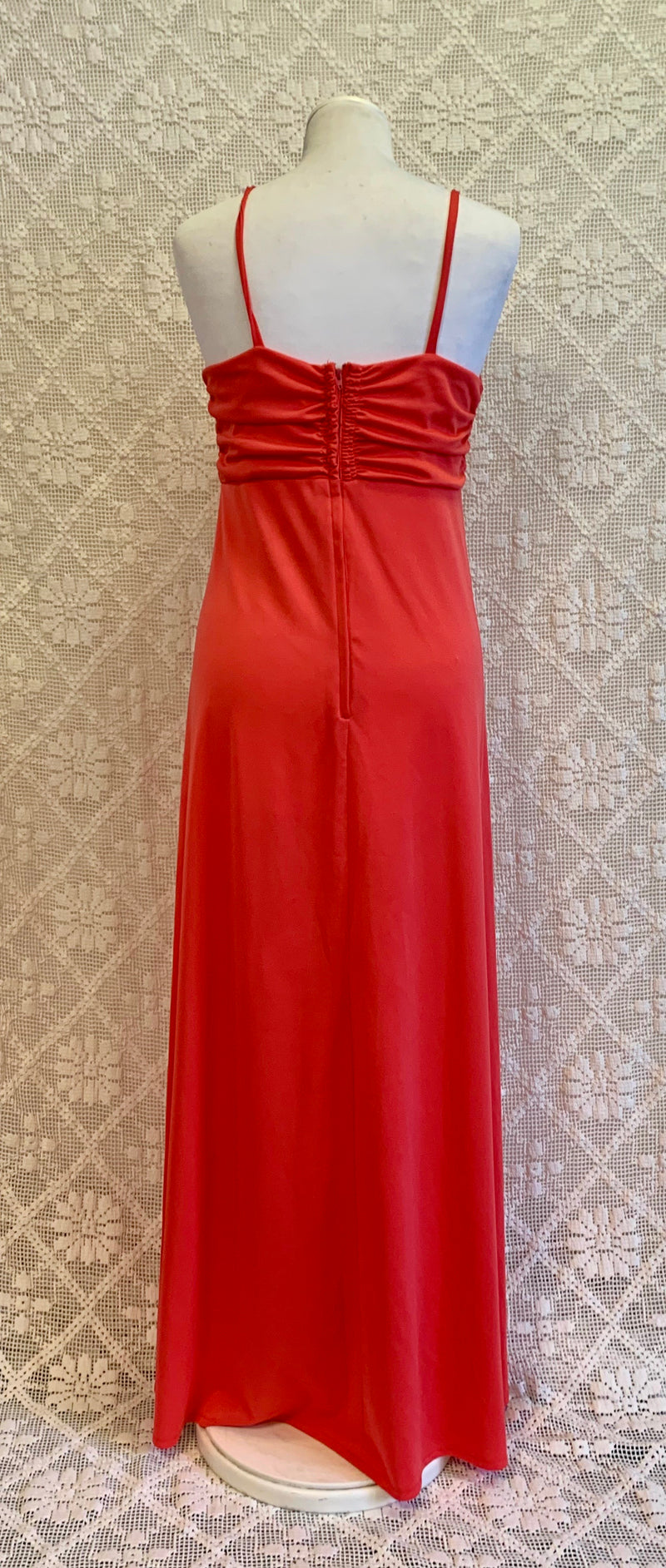 Bright Coral Pink 70s Ruched Maxi Dress - Size - S