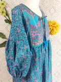 Blue / Pink / Lilac Peacock Paisley Floral - Short Smock Dress - Size M/L