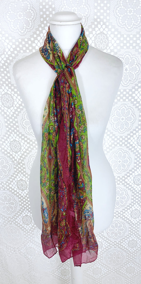 Pure Silk Indian Scarf - Plum