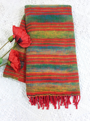 Bright Red Green & Yellow Reversible Stripe Indian Shawl/Blanket