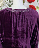 Vintage Velvet Embroidered Long Sleeve Top - Plum Jam & Silver - Size S/M