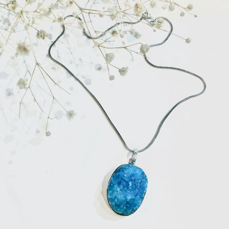 Silver Coloured Light Blue Turquoise Druzy Necklace Pendant