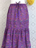 Purple Peacock Indian Cotton Floral Maxi Skirt (Free Size)