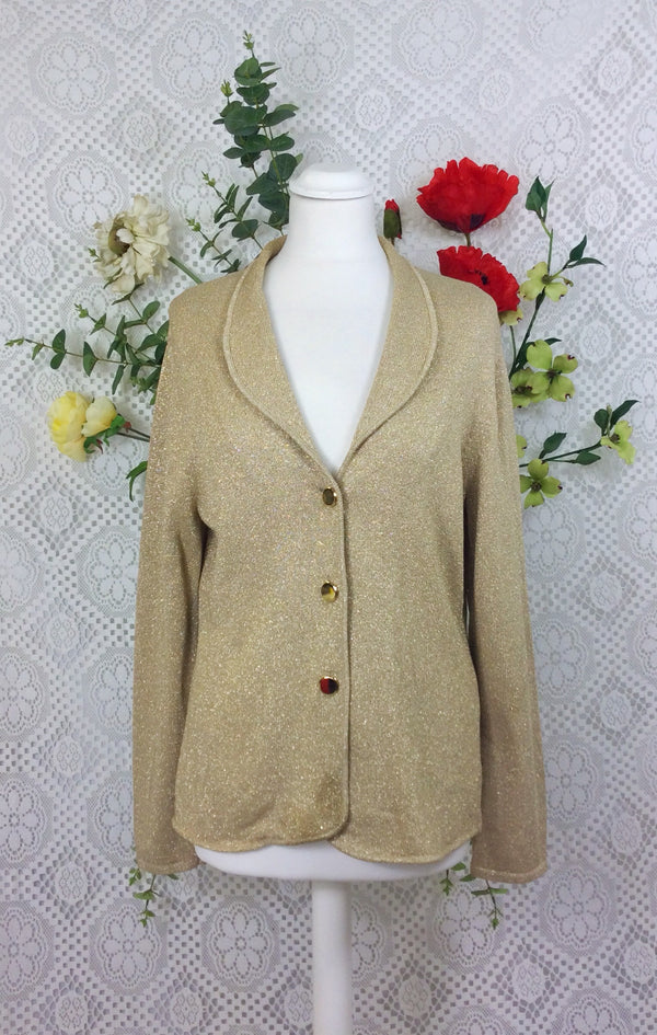 SALE Gold 70s sparkly jacket / top / cardigan - Size M