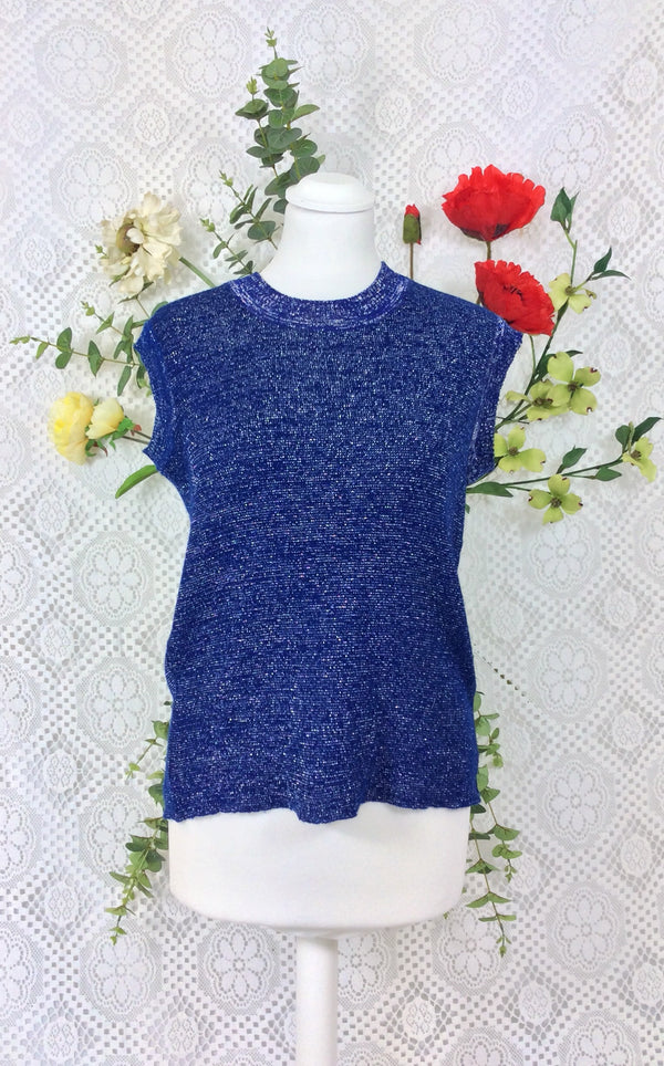 Vintage 70's Sparkly Silver & Midnight Blue Sweater Vest Top - Size S / M / L