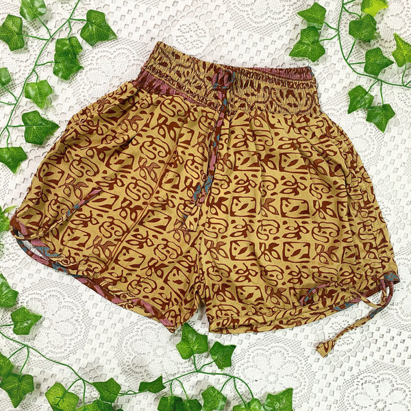 Pippa Shorts - Vintage Indian Sari Shorts -  Soft Gold & Bronze Abstract - Size XS