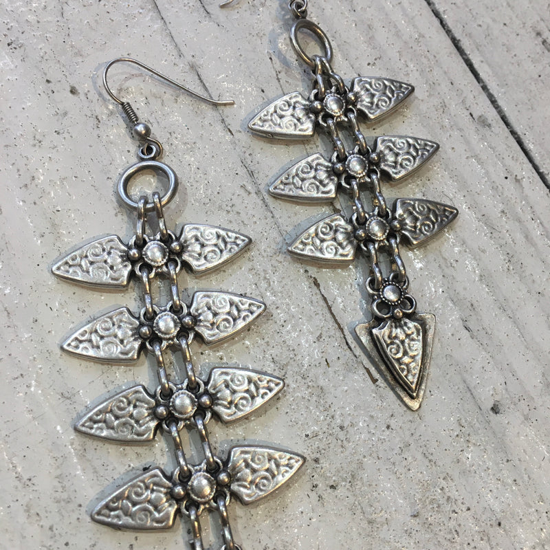 Silver Plated Turkish Ornate Chain Earrings