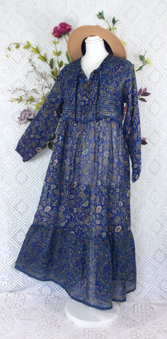 Florence Dress - Sparkly Indian Cotton Smock Dress - Midnight Blue & Sage - Size M/L