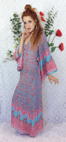 Aqua/Pink/Coral Peacock Floral Maxi Button Down Dress/Kimono Size M/L