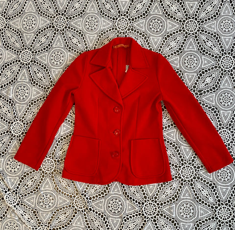 Vintage Spring Red 60s Fitted Jacket - Size - XS
