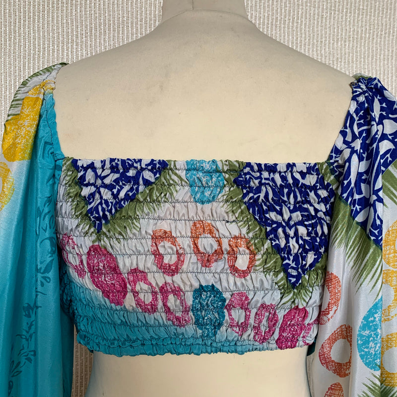 Ariel Top - Vintage Indian Sari - Sky Blue, Ice, Green & Yellow Abstract Floral - Free Size