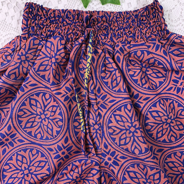 Pippa Shorts - Vintage Indian Sari Shorts -  Royal Blue & Burnt Orange - Size XS