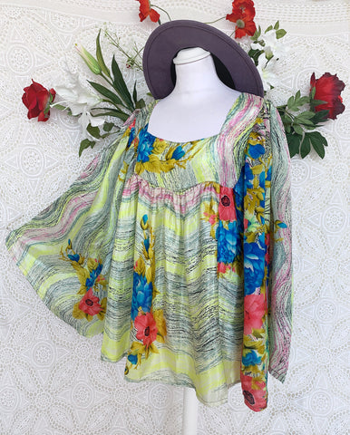 Honey Kimono Top - Vintage Indian Silk Mix - Candy Red, Blue & Lemon Abstract Floral (free size)