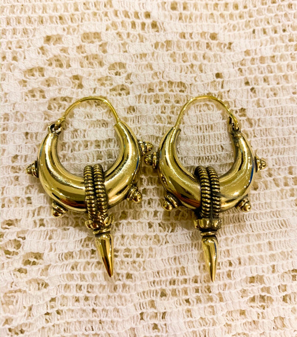 Medium Gold Painted Brass Hoops with Spikes