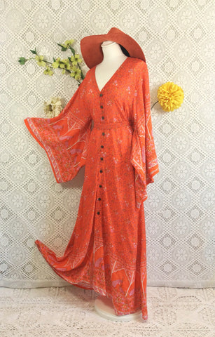 Coral/Orange/Pink Peacock Paisley Cotton - Maxi Button Down Dress/Kimono - M/L