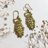 Gold Colour Brass Peacock Earrings