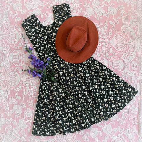 Vintage Dress - Black & Green with a Daisy Print - S