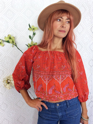 Indian Cotton Gypsy Top (Free Size) Coral Orange Paisley Peacock
