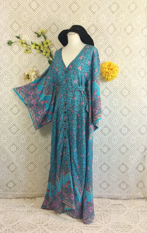 Blue & Pink Peacock Paisley Cotton - Maxi Button Down Dress/Kimono - S/M