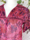 Vintage Indian Sparkly Floral Smock Dress - Raspberry & Purple - Size M