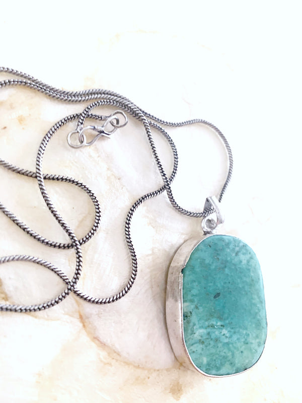 Silver Coloured Light Blue Turquoise Stone Necklace Pendant