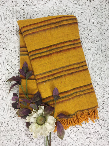Honey, Wine & Charcoal Reversible Stripe Indian Shawl/Blanket