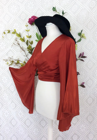 Block Colour Gemini Bell Sleeve Top - Autumn Red Silk Mix - S/M