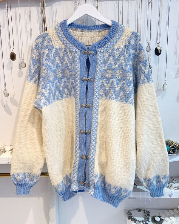 Vintage Light Blue Norwegian Knitted Cardigan - Size L - XL