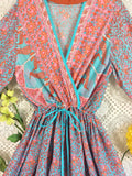 Indian Peacock Drawstring Wide Leg Jumpsuit - Aqua Pink Orange - Size M