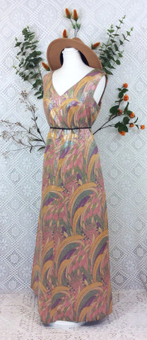 Vintage Handmade Shimmering Rainbow Floral Maxi Evening Dress - S/M